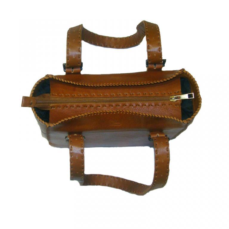 کیف صندوقی زنانه چرم گاوی دست دوز رنگ عسلی